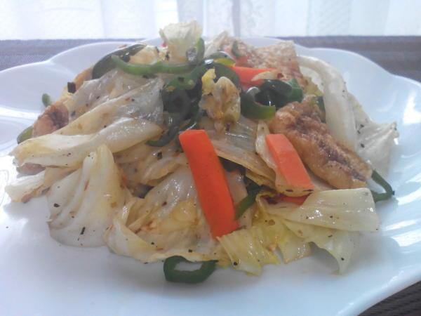 千代の一番で野菜炒め