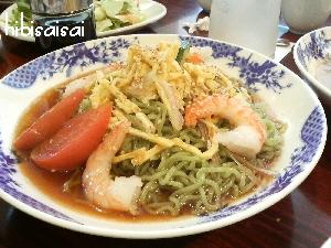 海老と翡翠麺の冷やし中華、醤油ダレ