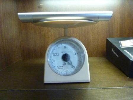 量りで重さを量ってみた