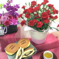 なごみの米屋 栗どら焼きと花鉢のセット