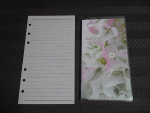 6つ穴手帳の用紙と比較