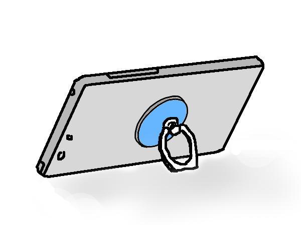 スマホ落下防止リングの使用例