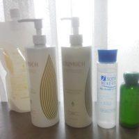 手持ちの化粧水・乳液と大きさ比べ
